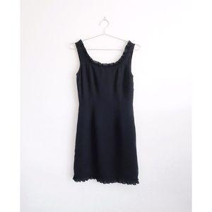 Vtg Vivienne Tam Black Ruffle Trim Sheath Dress 4